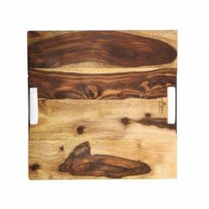 Rosewood Plank Pure Rose Wood Serveerplank 2 Metalen Handvatten 40 X 40 Cm RS1440 2 W
