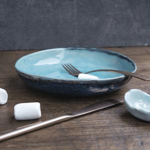 Blauw pastabord, saldebowl, diep bord, hand made keramiek HIP by Marc