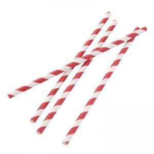 composteerbare papieren rietjes rood-wit gestreept, biologisch afbreekbaar