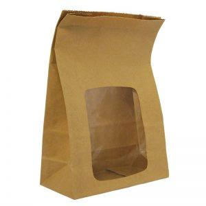 Vegware Composteerbare Gevoerde Kraft Sandwichzakken Met Kijkvenster