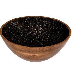 Houten kom zwart Ø30x10 cm