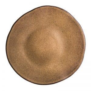 bruin sservies, rond bord, reactieve glazuur, horeca serviesgoed