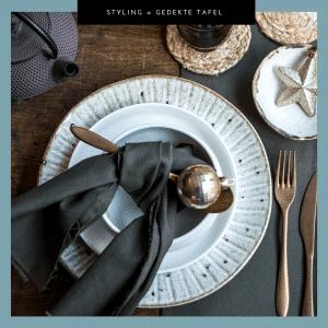 Gedekte tafel, tafelstyling, ecru & wit, styling, porselein,