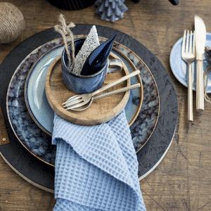 Gedekte Tafel Blauw, servies, styling, kersttafel.