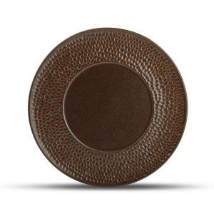 Plat bord 28cm gehamerde rand copper Brass