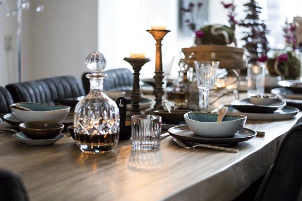 Serviesgoed, gedekte tfel, styling table, blauw-bruin, Hip tafelen to go